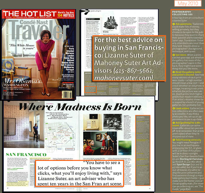 article excerpts from Conde Nast Traveler Magazine, May, 2010